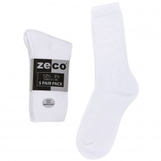 Unisex 5pk White Sports Socks (12.5-3.5 - 4-6)