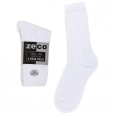 Unisex 5pk White Sports Socks (12.5-3.5 - 4-6)