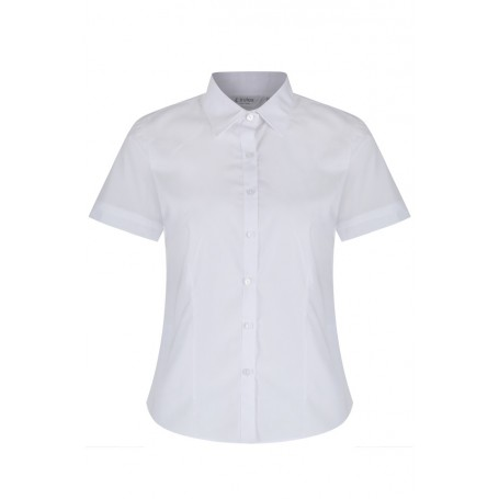 "Plain White Fitted Short Sleeve Easy care Blouse 2pk (36""-44"")"