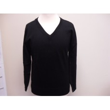 Black 100% Acrylic V-neck jumper