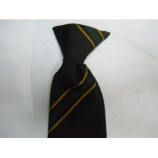 Robert Blake Clip on Tie (Black with Green and yellow stripe)