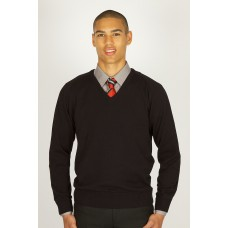 Black V-neck 100% Cotton Jumper (Vat)