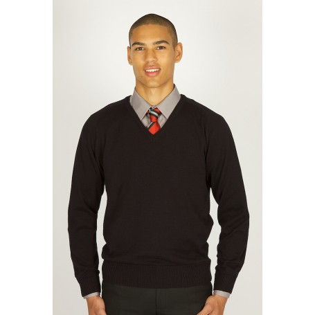 Black V-neck 100% Cotton Jumper (non vat)