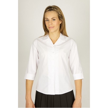 Deluxe 3/4 Sleeve Rever Collar Fitted Blouse