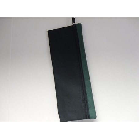 Large Rectangular Pencil Case( black with  green trim)