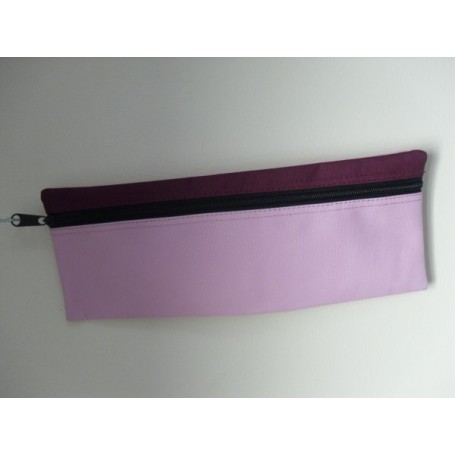 Large Rectangular Pencil Case( light pink with burgundy trim)