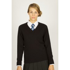 Ladies Black fitted 100% cotton jumper (9-10 years - Small)