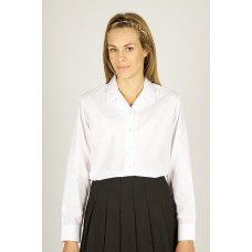 "King Alfred 2pk White Rever Collar Long Sleeve Embroidered Blouse (26""-34"")"
