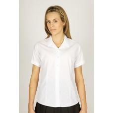 "King Alfred 2pk White Rever Collar Short Sleeve Embroidered Blouse (28""-34"")"