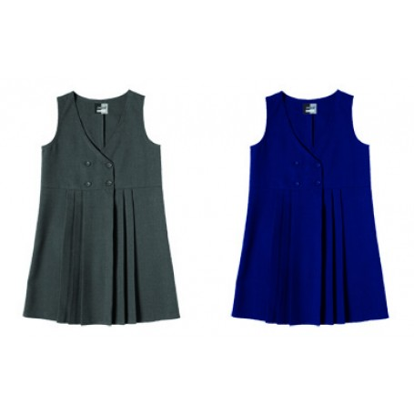 Girls Zeco Navy Four Button Pinafore