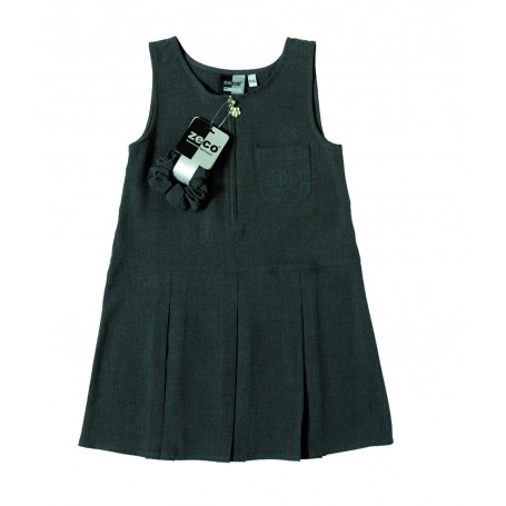 Girls Zeco Grey Flower Embroidery Pinafore