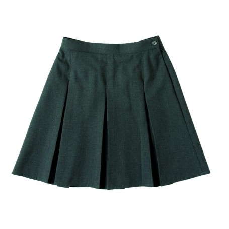 Girls Grey Zeco Stitched Down Box Pleat Skirt